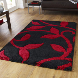 Fashion Black/Red shaggy rug