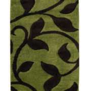 Fashin Leaf and sten design rug in green and brown