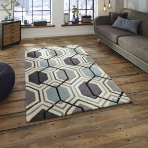 Hong Kong Rug in Grey/Teal