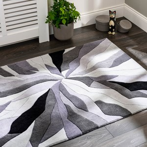 Grey and black splinter rug