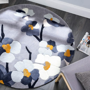 Blossom Grey Ochre Circle Rug