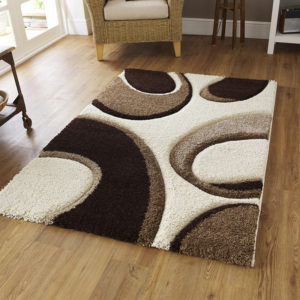 Fashion hand carved rug in ivory and brown