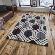 Hong Kong Rug in Cream and Dark Purple