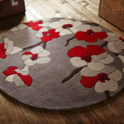 Blossom Beige Red Circle Rug