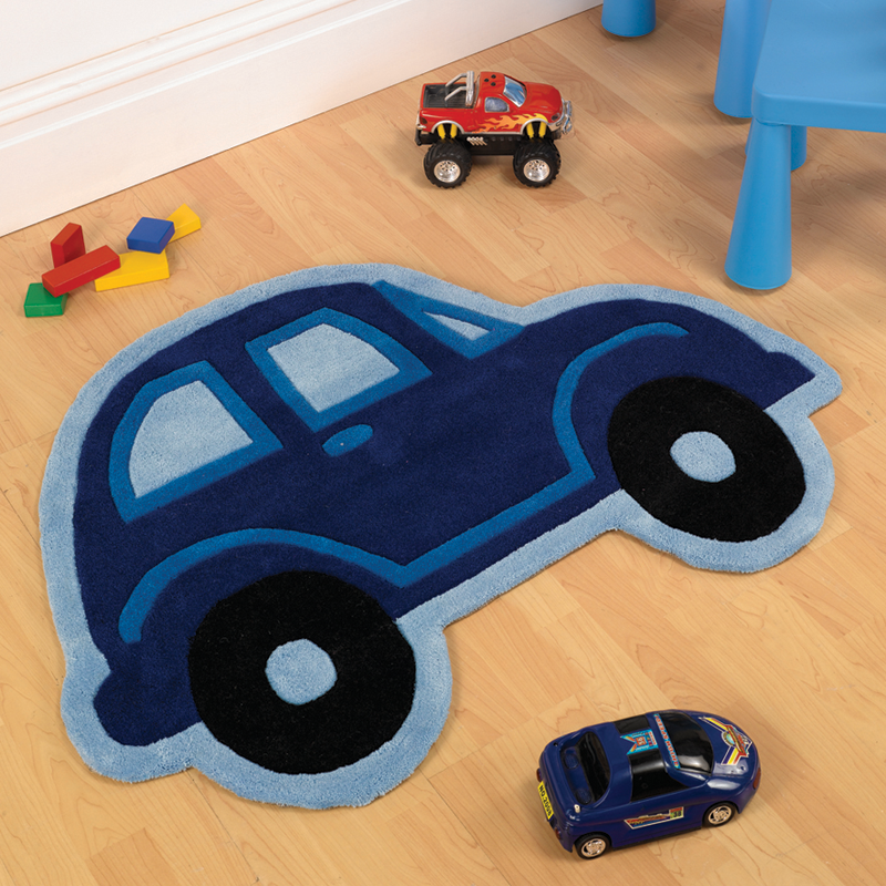 Boys Blue Car Rug