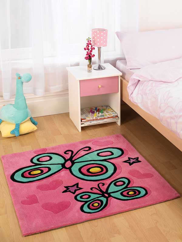Butterfly Square Pink Rug