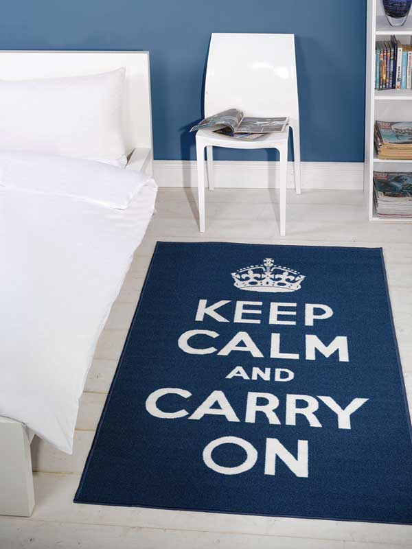 Keep Calm Blue Rug