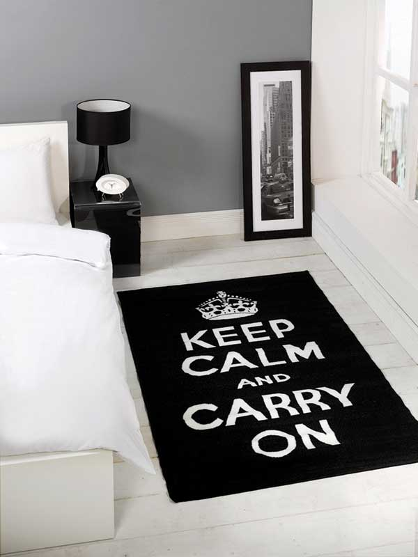 Keep Calm Black Rug